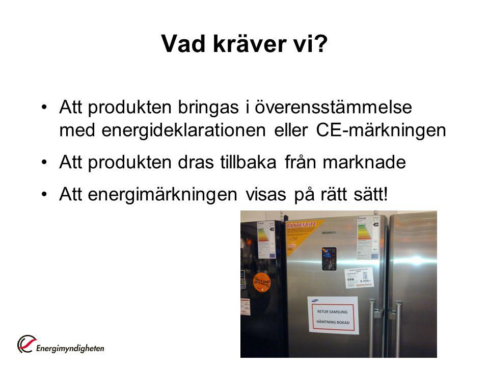 Vad kräver vi? •Att produkten bringas i överensstämmelse med energideklarationen eller CE-märkningen •Att produkten dras tillbaka från marknade •Att e