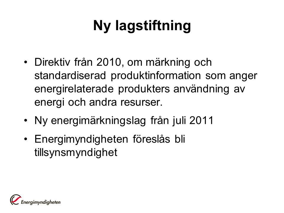 Ny lagstiftning •Direktiv från 2010, om märkning och standardiserad produktinformation som anger energirelaterade produkters användning av energi och andra resurser.