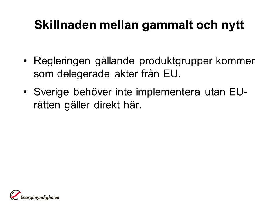Skillnaden mellan gammalt och nytt •Regleringen gällande produktgrupper kommer som delegerade akter från EU. •Sverige behöver inte implementera utan E