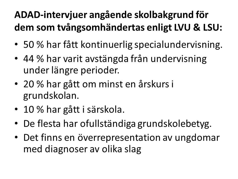 ADAD-intervjuer angående skolbakgrund för dem som tvångsomhändertas enligt LVU & LSU: • 50 % har fått kontinuerlig specialundervisning. • 44 % har var