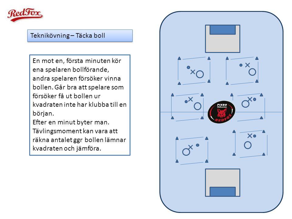 Teknikövning – Täcka boll En mot en, första minuten kör ena spelaren bollförande, andra spelaren försöker vinna bollen. Går bra att spelare som försök