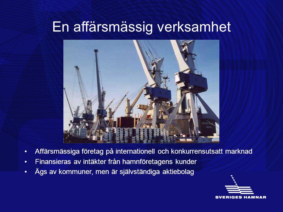 En affärsmässig verksamhet •Affärsmässiga företag på internationell och konkurrensutsatt marknad •Finansieras av intäkter från hamnföretagens kunder •