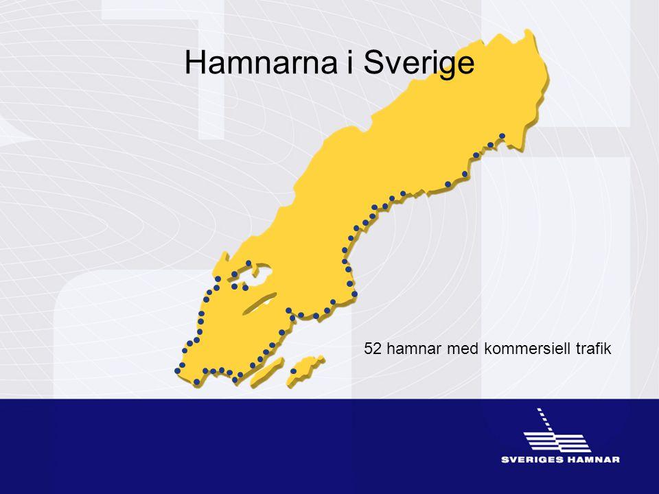 52 hamnar med kommersiell trafik Hamnarna i Sverige