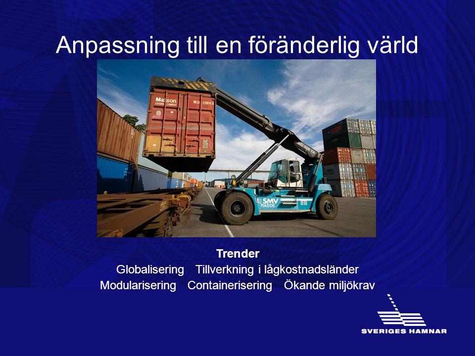 Anpassning till en föränderlig värld Trender Globalisering Tillverkning i lågkostnadsländer Modularisering Containerisering Ökande miljökrav