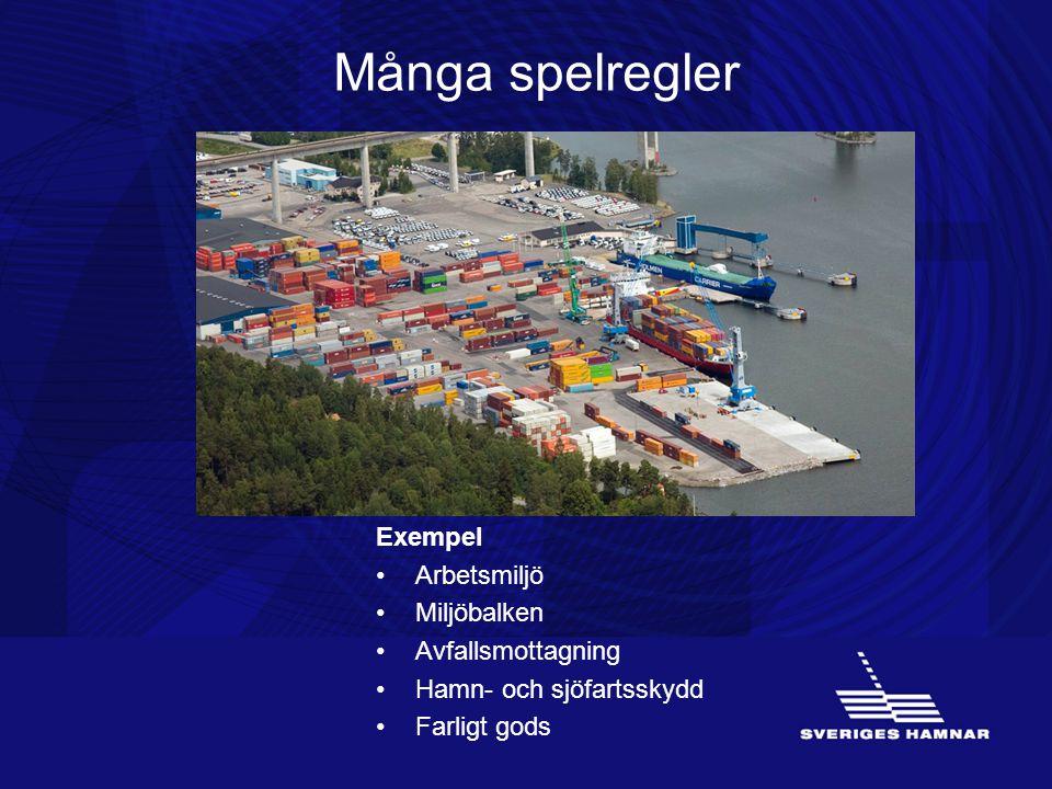 Många spelregler Exempel •Arbetsmiljö •Miljöbalken •Avfallsmottagning •Hamn- och sjöfartsskydd •Farligt gods