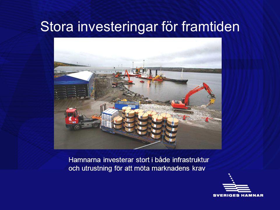 Stora investeringar för framtiden Hamnarna investerar stort i både infrastruktur och utrustning för att möta marknadens krav