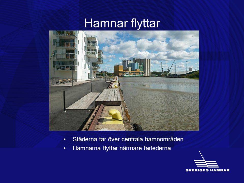 Hamnar flyttar •Städerna tar över centrala hamnområden •Hamnarna flyttar närmare farlederna