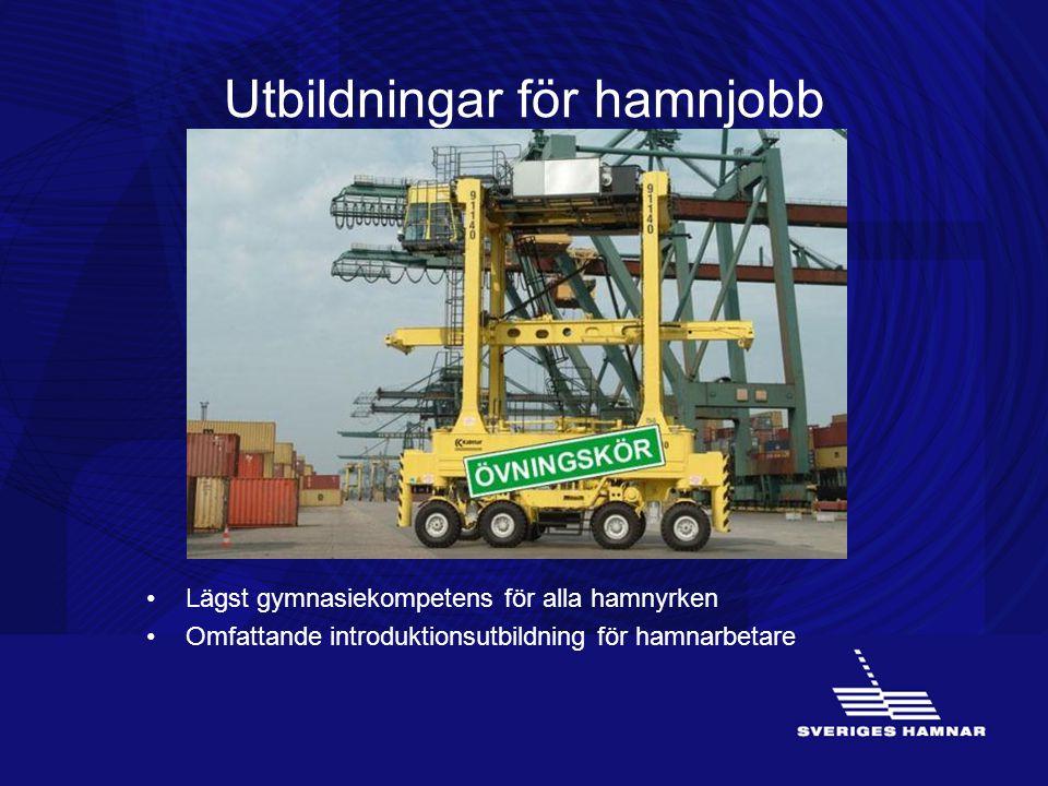 Utbildningar för hamnjobb •Lägst gymnasiekompetens för alla hamnyrken •Omfattande introduktionsutbildning för hamnarbetare