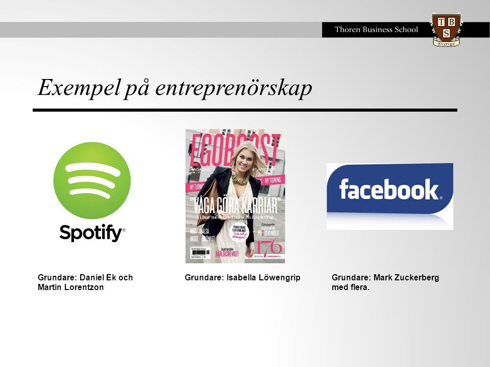 Exempel på entreprenörskap Grundare: Daniel Ek och Martin Lorentzon Grundare: Isabella LöwengripGrundare: Mark Zuckerberg med flera.