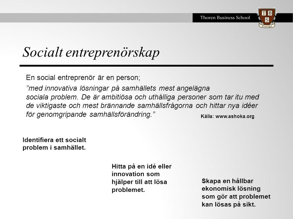 Socialt entreprenörskap Källa: www.ashoka.org En social entreprenör är en person; med innovativa lösningar på samhällets mest angelägna sociala problem.
