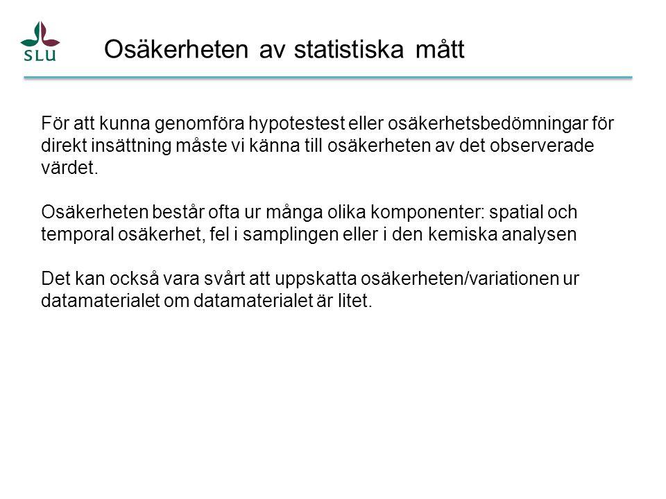 Osäkerheten av statistiska mått För att kunna genomföra hypotestest eller osäkerhetsbedömningar för direkt insättning måste vi känna till osäkerheten av det observerade värdet.