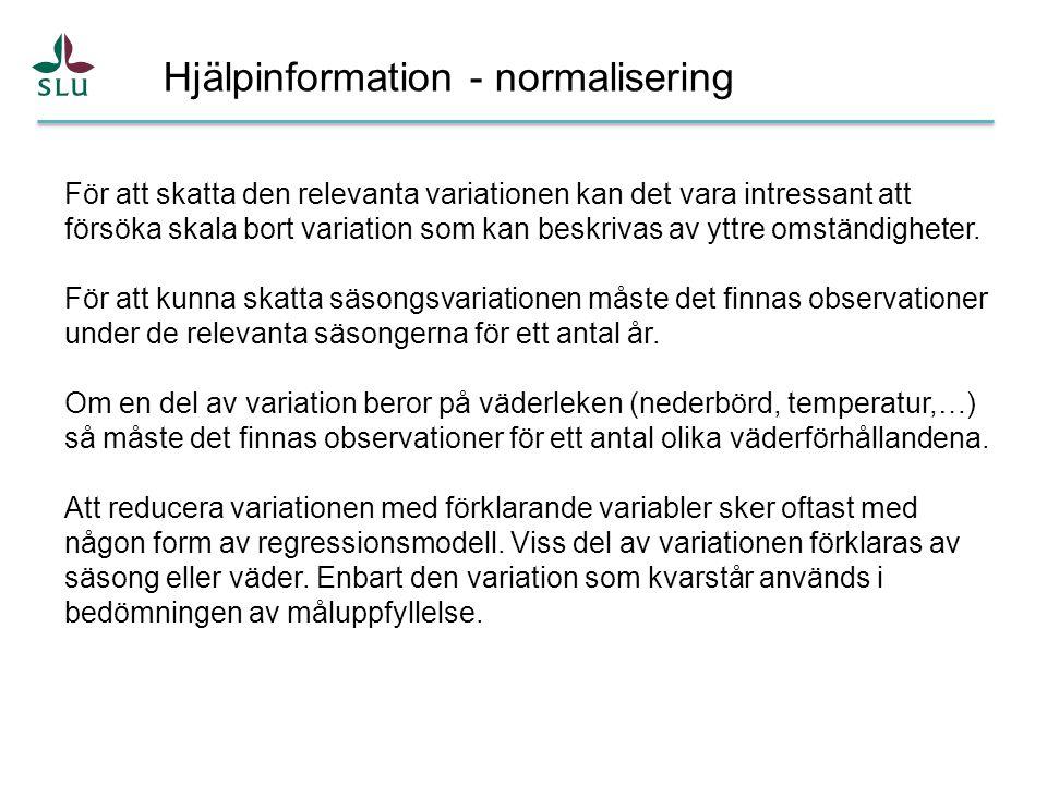 Hjälpinformation - normalisering För att skatta den relevanta variationen kan det vara intressant att försöka skala bort variation som kan beskrivas av yttre omständigheter.