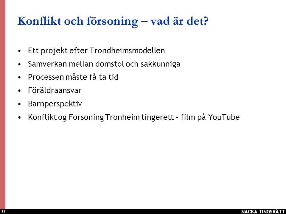 11 Konflikt och försoning – vad är det? •Ett projekt efter Trondheimsmodellen •Samverkan mellan domstol och sakkunniga •Processen måste få ta tid •För