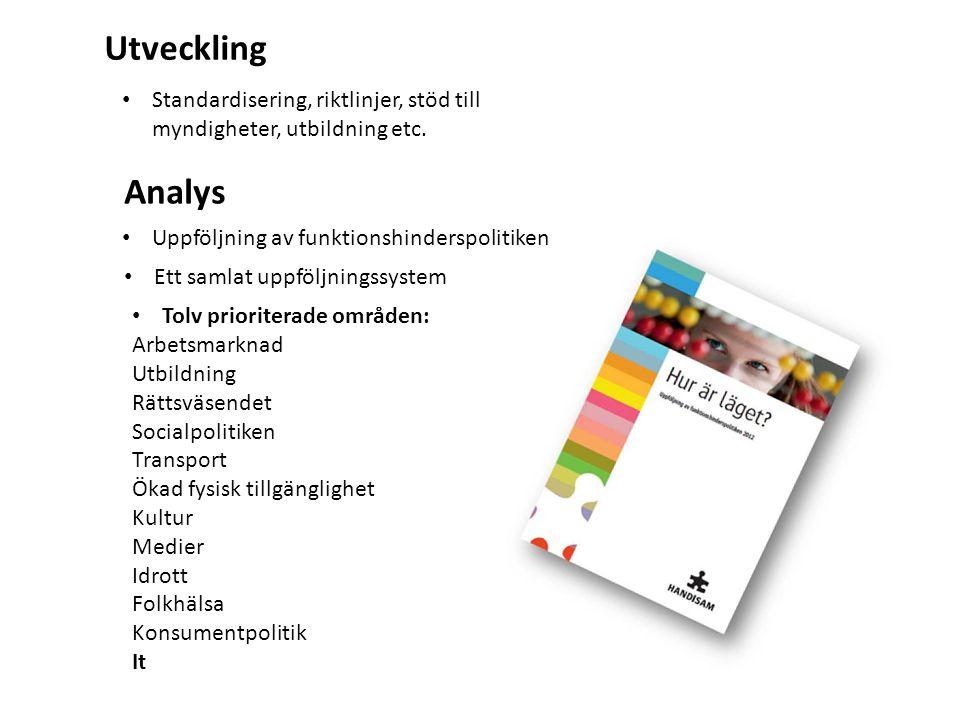 Utveckling Analys • Standardisering, riktlinjer, stöd till myndigheter, utbildning etc.