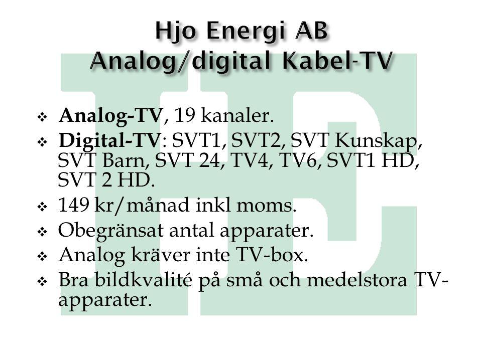  Analog-TV, 19 kanaler.  Digital-TV : SVT1, SVT2, SVT Kunskap, SVT Barn, SVT 24, TV4, TV6, SVT1 HD, SVT 2 HD.  149 kr/månad inkl moms.  Obegränsat