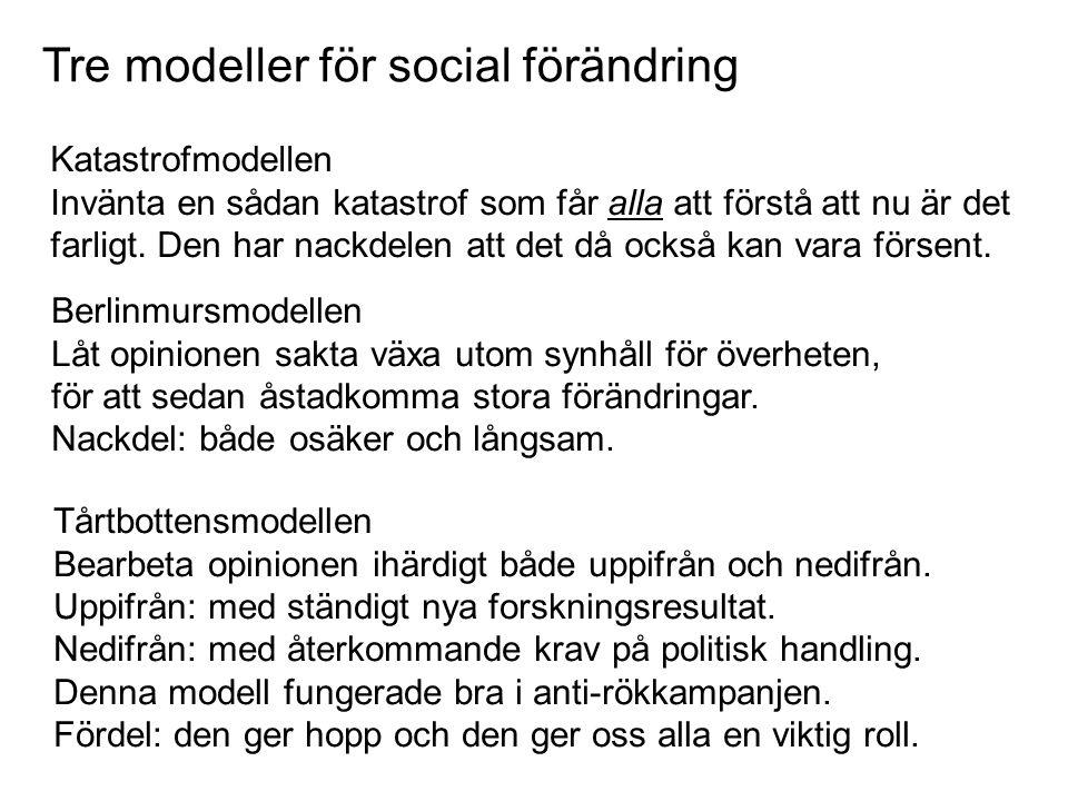 Tre modeller för social förändring Katastrofmodellen Invänta en sådan katastrof som får alla att förstå att nu är det farligt. Den har nackdelen att d