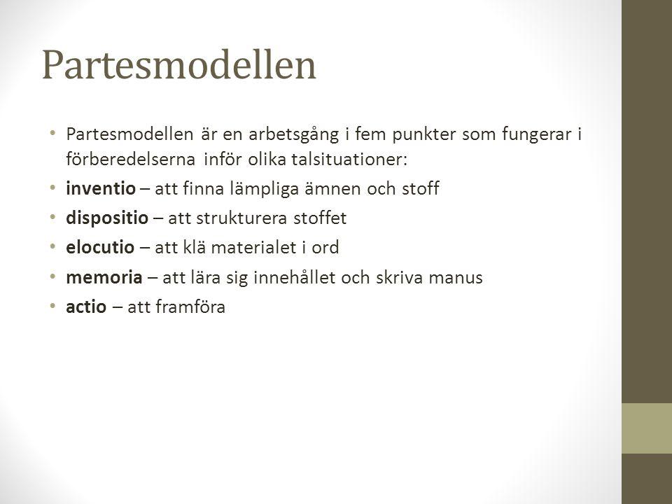 Partesmodellen • Partesmodellen är en arbetsgång i fem punkter som fungerar i förberedelserna inför olika talsituationer: • inventio – att finna lämpl