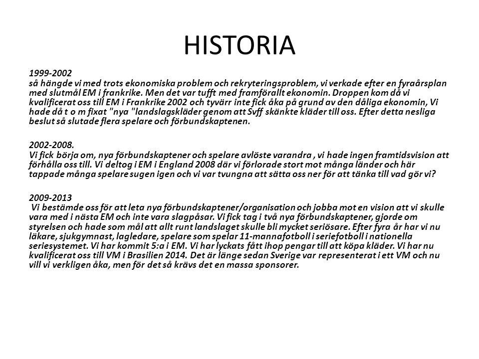 HISTORIA 1999-2002 så hängde vi med trots ekonomiska problem och rekryteringsproblem, vi verkade efter en fyraårsplan med slutmål EM i frankrike.