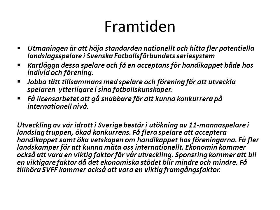 Framtiden  Utmaningen är att höja standarden nationellt och hitta fler potentiella landslagsspelare i Svenska Fotbollsförbundets seriesystem  Kartlä