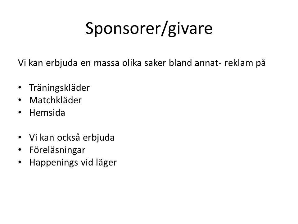 Sponsorer/givare Vi kan erbjuda en massa olika saker bland annat- reklam på • Träningskläder • Matchkläder • Hemsida • Vi kan också erbjuda • Föreläsningar • Happenings vid läger