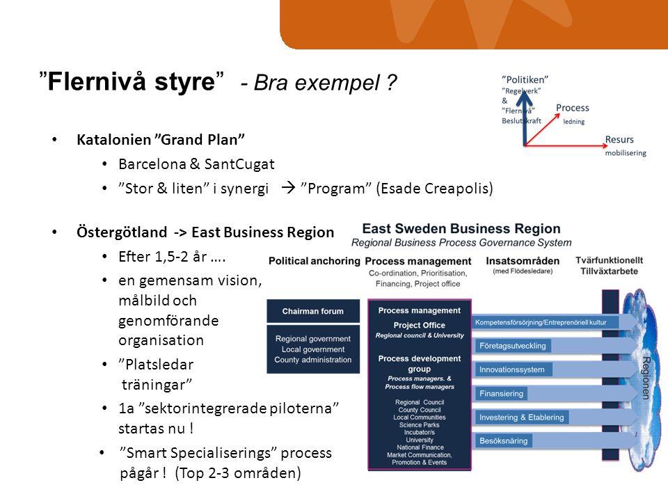 "• Katalonien ""Grand Plan"" • Barcelona & SantCugat • ""Stor & liten"" i synergi  ""Program"" (Esade Creapolis) • Östergötland -> East Business Region • Ef"