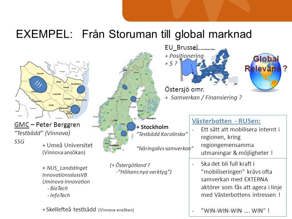 """EXEMPEL: Från Storuman till global marknad Global Relevans ? GMC – Peter Berggren """"Testbädd"""" (Vinnova) SSG !!! + Stockholm """"Testbädd Karolinska"""" """"Näri"""