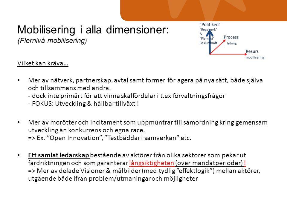 Mobilisering i alla dimensioner: (Flernivå mobilisering) Vilket kan kräva… • Mer av nätverk, partnerskap, avtal samt former för agera på nya sätt, båd