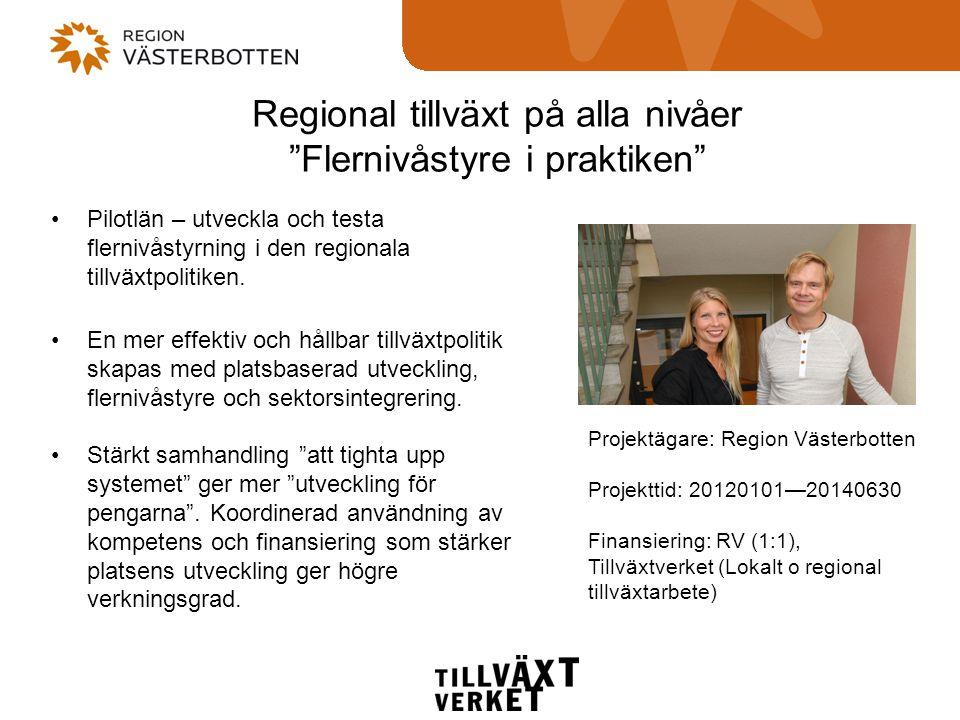 Regional tillväxt på alla nivåer Flernivåstyre i praktiken •Pilotlän – utveckla och testa flernivåstyrning i den regionala tillväxtpolitiken.