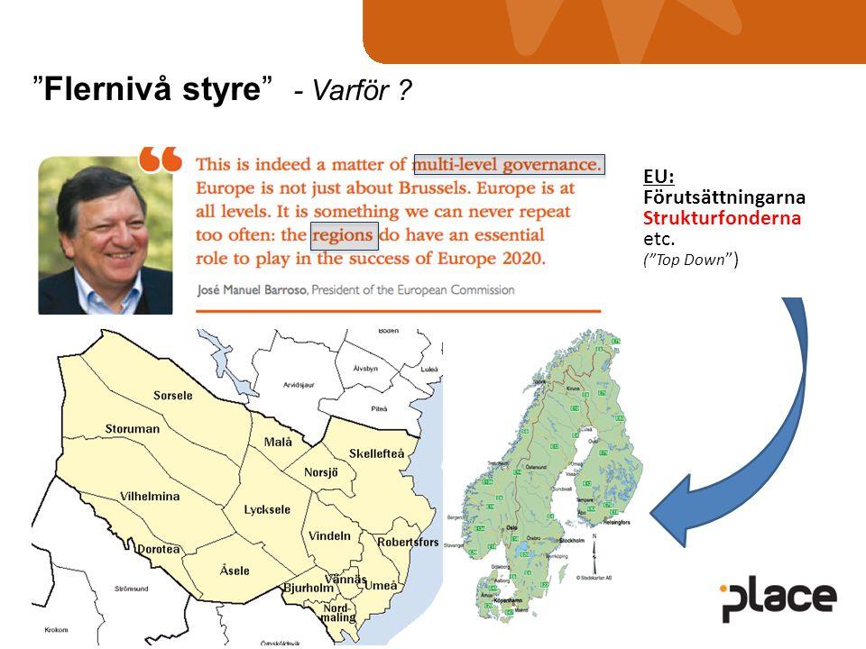 EU: Förutsättningarna Strukturfonderna etc. ( Top Down ) Flernivå styre - Varför ?