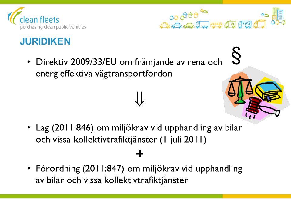 JURIDIKEN • Direktiv 2009/33/EU om främjande av rena och energieffektiva vägtransportfordon  • Lag (2011:846) om miljökrav vid upphandling av bilar o