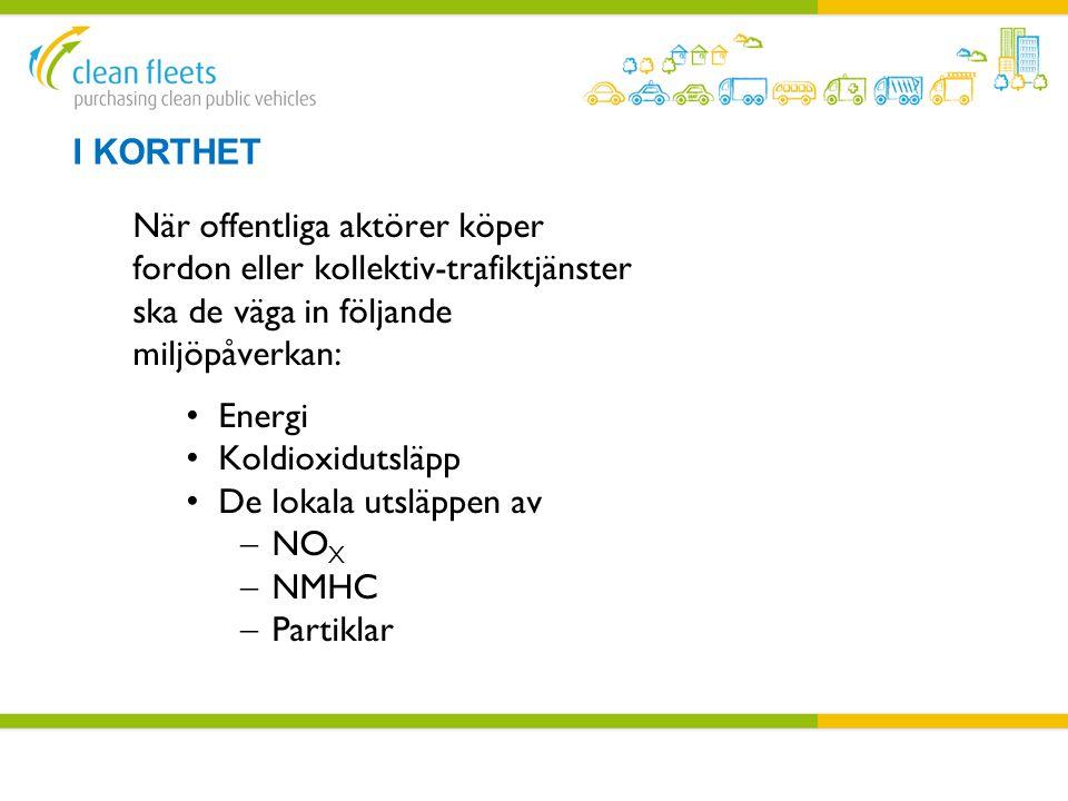 I KORTHET När offentliga aktörer köper fordon eller kollektiv-trafiktjänster ska de väga in följande miljöpåverkan: • Energi • Koldioxidutsläpp • De l