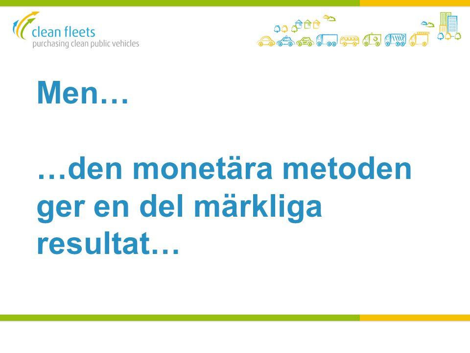 2 3 Fuel CO 2 WTW (g/km) NO X (mg/km) PM10 (mg/km) NMHC (mg/km) Energy (kWh/km) Miljö- kostnad (€) Inköp (€) Total kostnad (€) E85 8516,80,543,157 9 94233 14043 082 Diesel 13594,10,32?45 8 68633 95342 639 Petrol 18438,81,4549,763 11 54733 72145 268 Biogas 8327,30,26,460 12 73336 62849 361 1 4 Monetära metoden enligt Direktivet 4 så gott som identiska bilar VW Passat Master, Euro 5 4 olika drivmedel