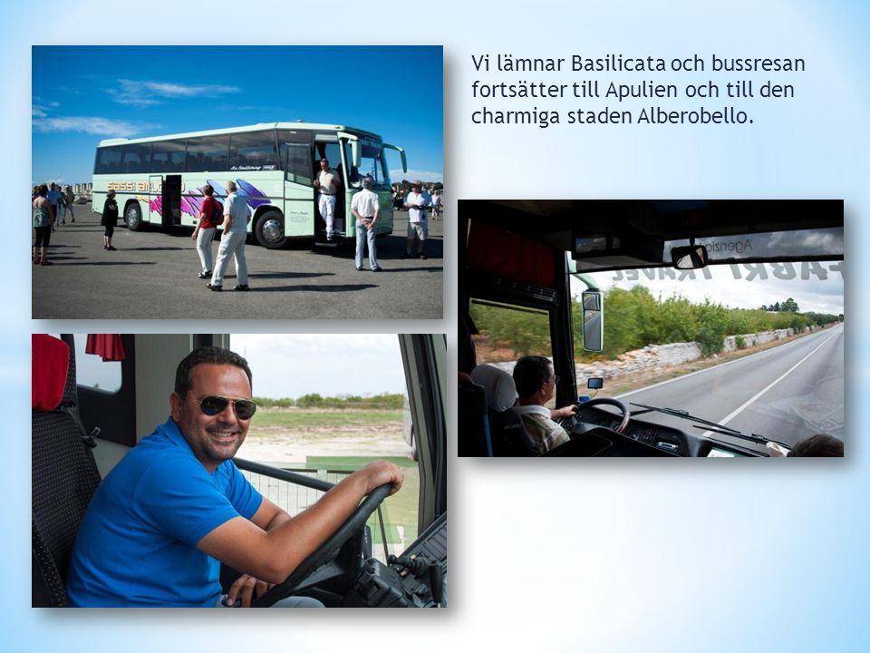 Vi lämnar Basilicata och bussresan fortsätter till Apulien och till den charmiga staden Alberobello.