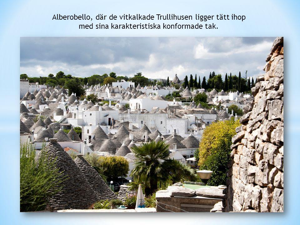 Alberobello, där de vitkalkade Trullihusen ligger tätt ihop med sina karakteristiska konformade tak.