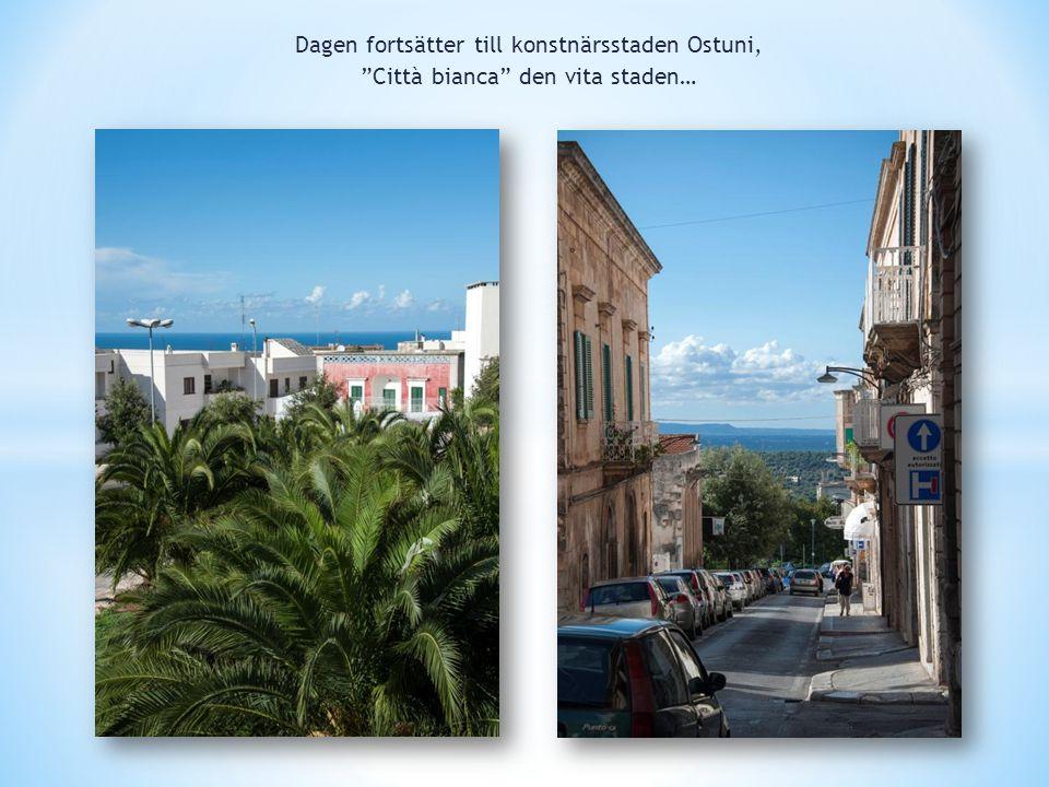 Dagen fortsätter till konstnärsstaden Ostuni, Città bianca den vita staden…