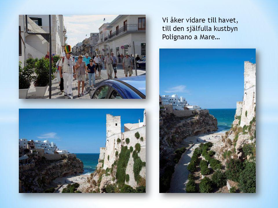 Vi åker vidare till havet, till den själfulla kustbyn Polignano a Mare…
