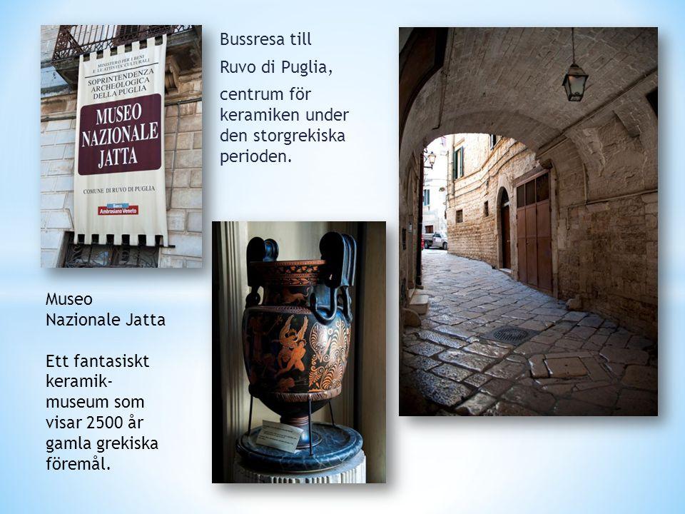 Bussresa till Ruvo di Puglia, centrum för keramiken under den storgrekiska perioden. Museo Nazionale Jatta Ett fantasiskt keramik- museum som visar 25