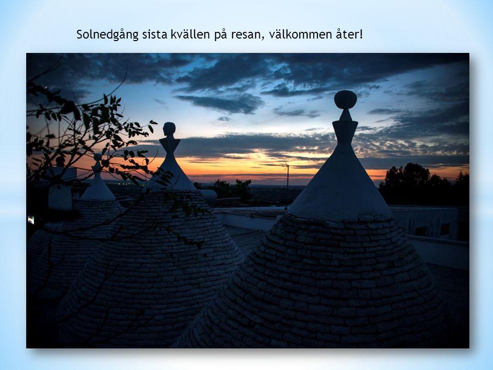 Solnedgång sista kvällen på resan, välkommen åter!