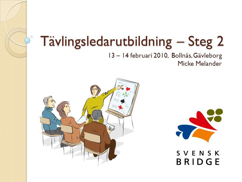 Tävlingsledarutbildning – Steg 2 13 – 14 februari 2010, Bollnäs, Gävleborg Micke Melander