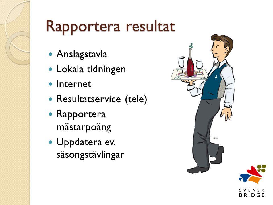Rapportera resultat  Anslagstavla  Lokala tidningen  Internet  Resultatservice (tele)  Rapportera mästarpoäng  Uppdatera ev.