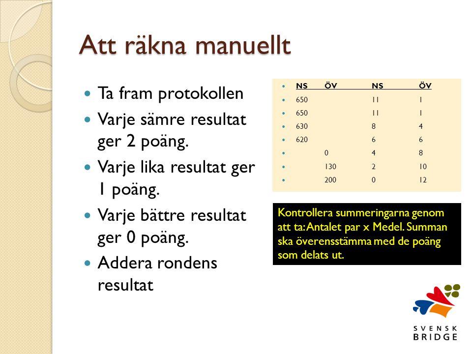 Att räkna manuellt  Ta fram protokollen  Varje sämre resultat ger 2 poäng.