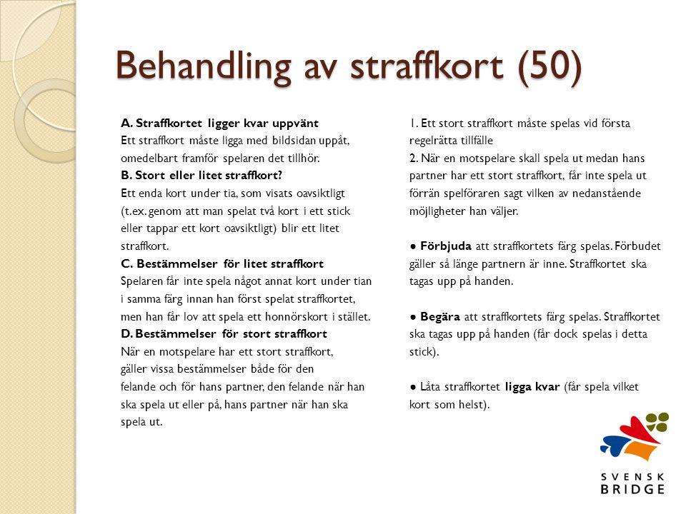 Behandling av straffkort (50) A.