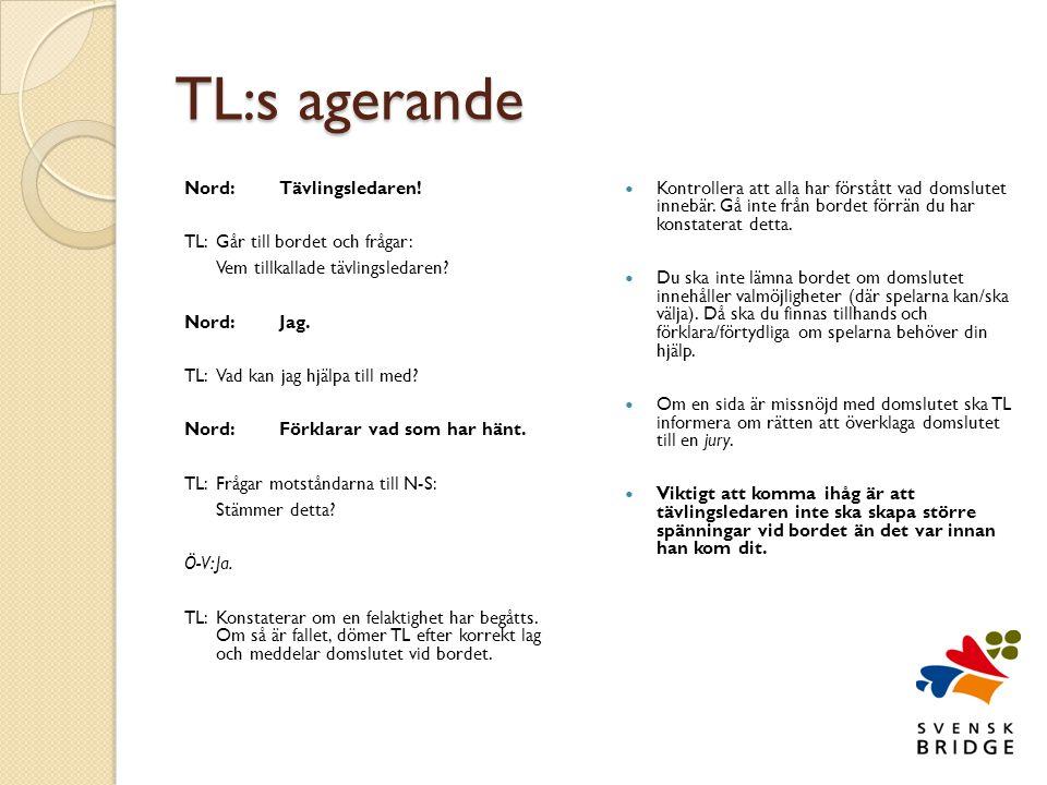 TL:s agerande Nord:Tävlingsledaren.TL:Går till bordet och frågar: Vem tillkallade tävlingsledaren.