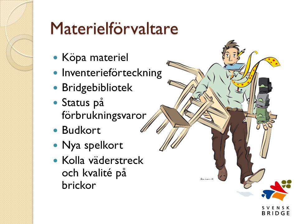 Materielförvaltare  Köpa materiel  Inventerieförteckning  Bridgebibliotek  Status på förbrukningsvaror  Budkort  Nya spelkort  Kolla väderstreck och kvalité på brickor