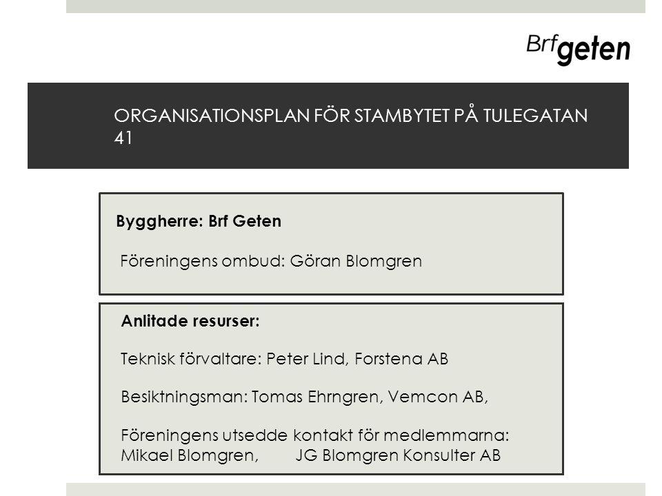 ORGANISATIONSPLAN FÖR STAMBYTET PÅ TULEGATAN 41 Anlitade resurser: Teknisk förvaltare: Peter Lind, Forstena AB Besiktningsman: Tomas Ehrngren, Vemcon
