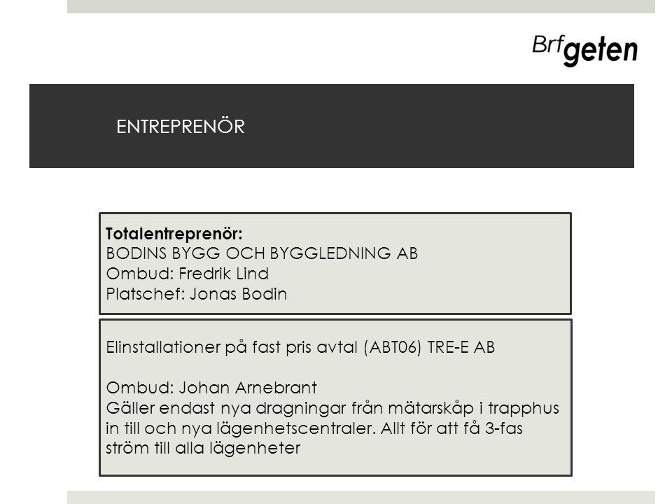 ENTREPRENÖR Totalentreprenör: BODINS BYGG OCH BYGGLEDNING AB Ombud: Fredrik Lind Platschef: Jonas Bodin Elinstallationer på fast pris avtal (ABT06) TR