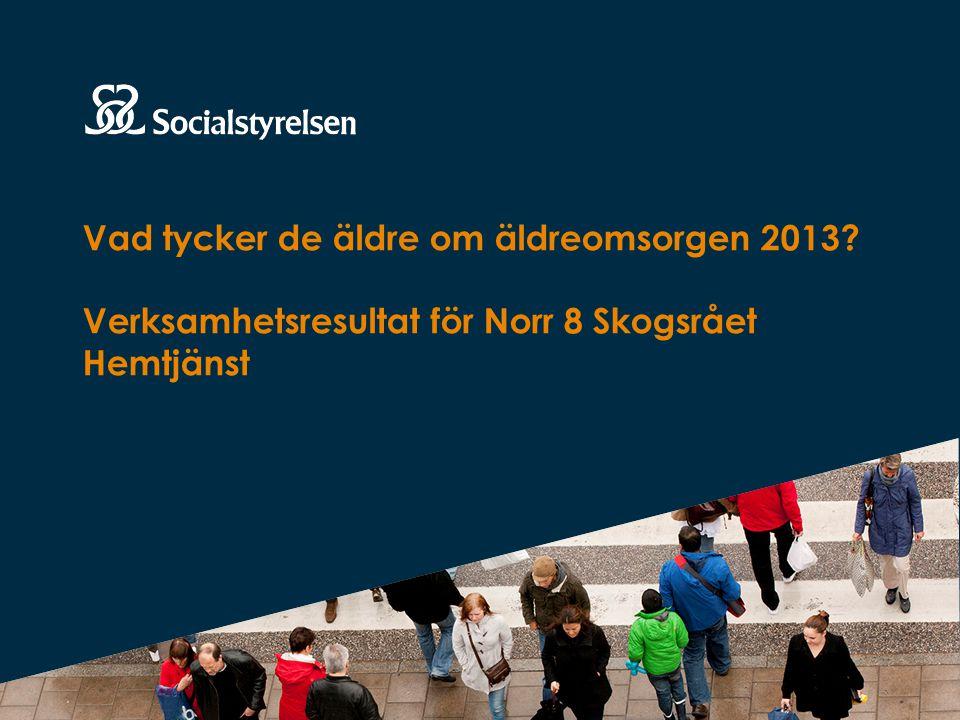 Resultaten för er verksamhet Här redovisas resultaten för er verksamhet från 2013 års nationella brukarundersökning för äldre, som Socialstyrelsen ansvarar för.