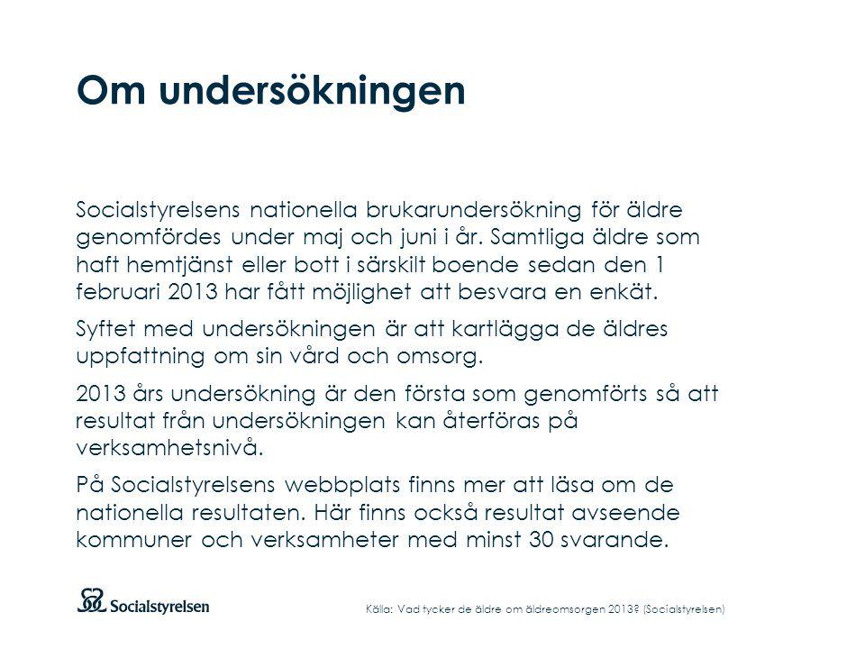 Om undersökningen Socialstyrelsens nationella brukarundersökning för äldre genomfördes under maj och juni i år. Samtliga äldre som haft hemtjänst elle