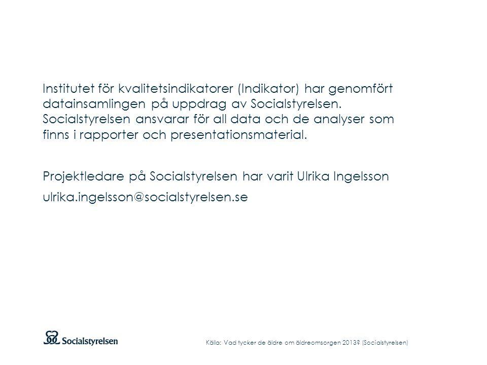 Institutet för kvalitetsindikatorer (Indikator) har genomfört datainsamlingen på uppdrag av Socialstyrelsen. Socialstyrelsen ansvarar för all data och