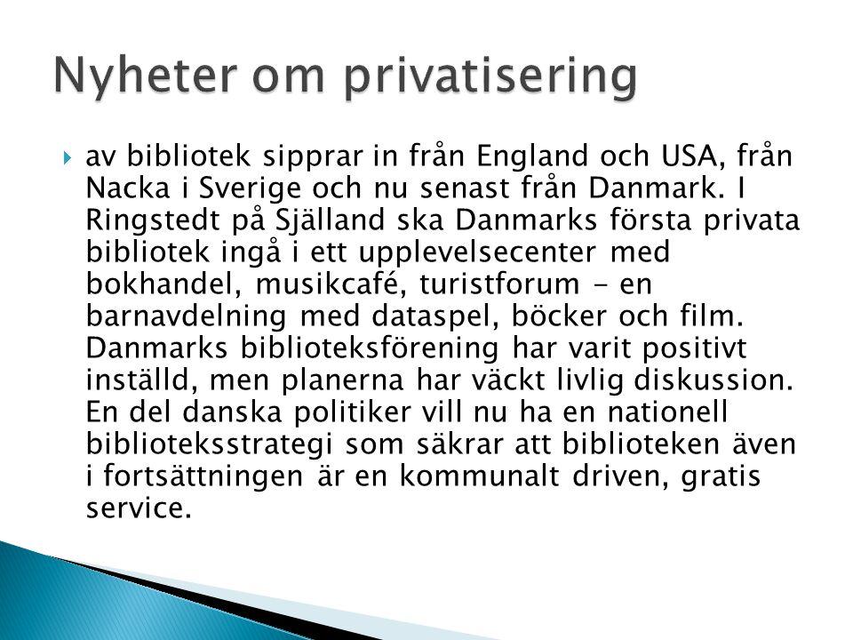  av bibliotek sipprar in från England och USA, från Nacka i Sverige och nu senast från Danmark. I Ringstedt på Själland ska Danmarks första privata b